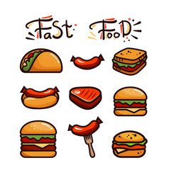 set with various fast food vector image