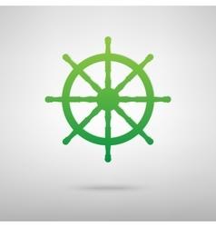 Ship wheel Green icon vector