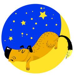 Sleeping dog tired pet asleep on moon vector