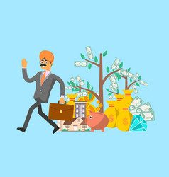 smiling indian businessman with suitcase vector image