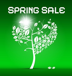 Spring Sale Green with Heart Shaped Tree and vector image