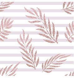 Striped rose gold tropical leaves seamless pattern vector