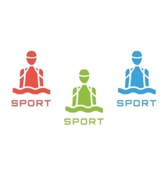 Swim sport logo icon template Pool swimmer man vector image
