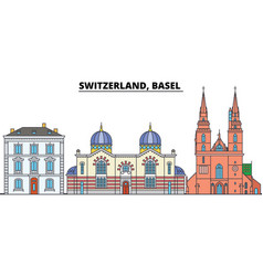 Switzerland basel city skyline architecture vector