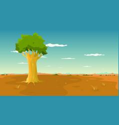 Tree inside wide plain landscape vector