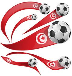 Tunisia flag set with soccer ball vector