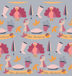 Turkey and autumn elements in a thanks giving vector