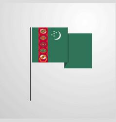 Turkmenistan waving flag design background vector