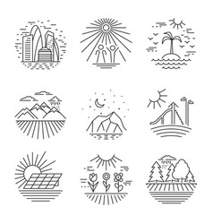 Urban and nature scenes icons vector