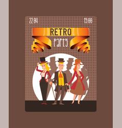 Victorian people gentleman in hat and woman vector