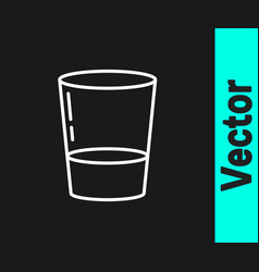 white line glass with water icon isolated on black vector image