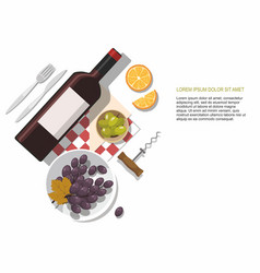 wine glass wine bottle olives and grapes vector image