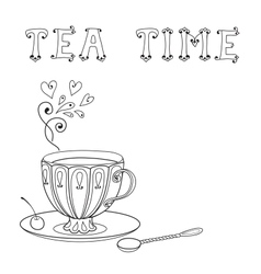 with a cup tea and an inscription vector image
