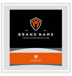 Wrench gear and shield logo design vector