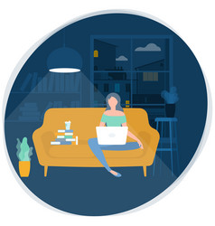 young woman working remotely vector image