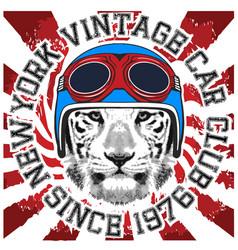 animal tee vintage graphic design helmet vector image vector image