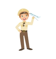 Boy Dressed As Pilot Holding Toy Plane vector image vector image