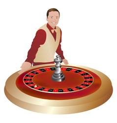 croupier with roulette wheel vector image vector image