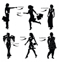 fashion shopping woman silhouettes vector image