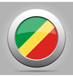 Flag of congo shiny metal gray round button vector