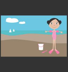 Girl on vacation in summer vector