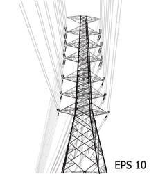 High voltage power pole line sketched up eps 10 vector