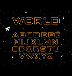 isolated yellow color alphabet elements on black vector image