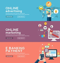 Online business banners set with advertising vector image vector image