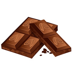 pieces of Chocolate isolated on white vector image
