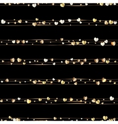 Seamless pattern of random gold hearts vector image