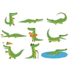 Crocodile character set vector image vector image