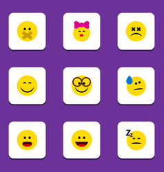 Flat icon face set of wonder hush pleasant and vector