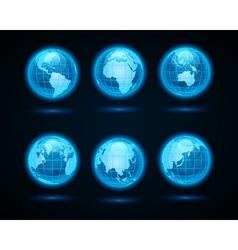 Globe earth night light icons vector image
