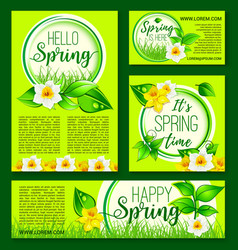 hello spring green nature flowers templates vector image vector image