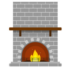brick fireplace isolated vector image