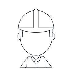 business man construction helmet thin line vector image