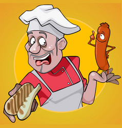 cartoon male chef holding a bun and sausage vector image vector image