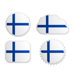 Finland flag labels vector image vector image