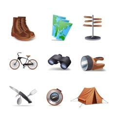 Hike Icons Set vector image vector image