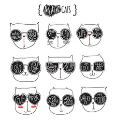 Set of cute doodle cats in glasses sketch cat vector