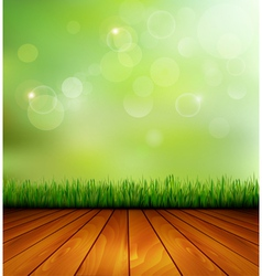Background with wood and grass vector image vector image