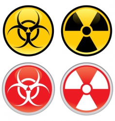 biohazard and radioactive warning signs vector image vector image