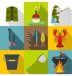 Fishing icons set flat style vector image vector image