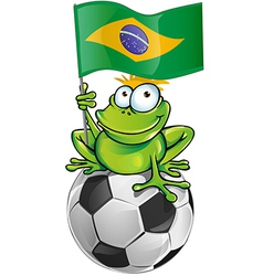 frog cartoon with soccer ball vector image vector image