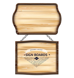 realistic wooden signboards or wood plank with vector image