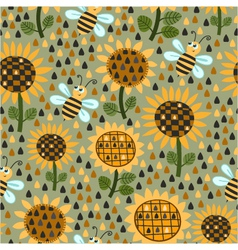 seamless pattern with sunflowers and bees vector image