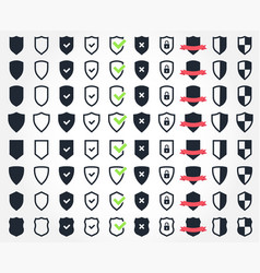 shield icon set security and safety system icons vector image