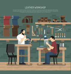 skinners working in leather workshop vector image