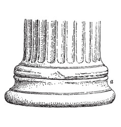the base of an ionic column at the erechtheum vector image