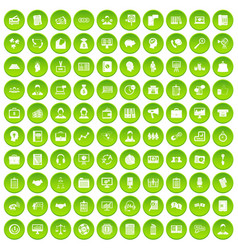 100 business people icons set green circle vector